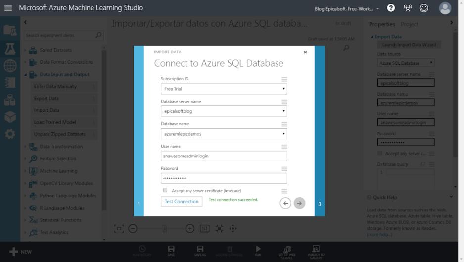 [Azure Machine Learning] Importar/Exportar datos con SQL Azure y bases de datos locales
