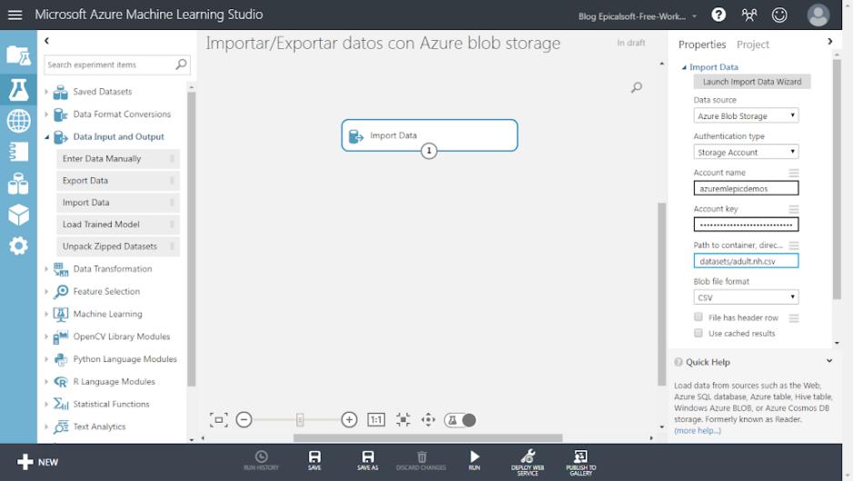 [Azure Machine Learning] Importar/Exportar datos con Azure blob storage